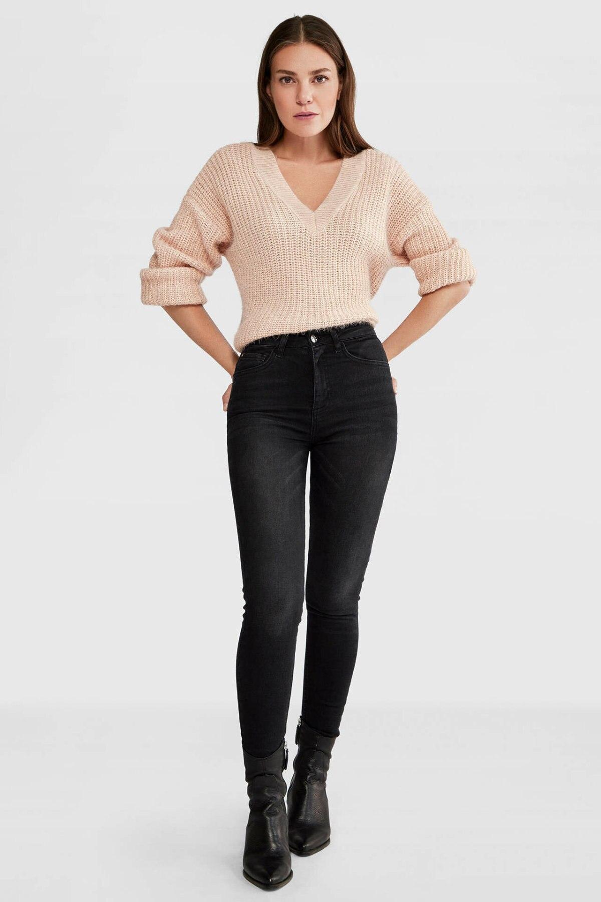 DeFacto Women Fashion Black Jean Trousers Female High Waist Elastic Denim Female Skinny Pencil Pants Ladies- L8027AZ19AU
