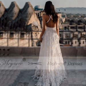 Image 5 - Mryarce Unique Bride Rosa Lace Wedding Dress Boho Chic Cross Back Side Slit Bridal Gowns For Outdoor Wedding