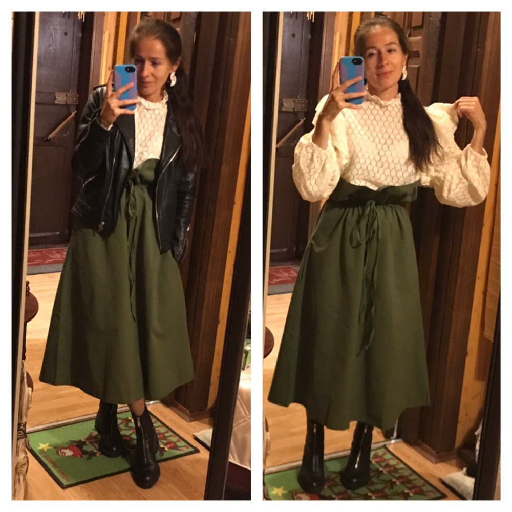 Pattern Pure Cotton Green Wide Long Skirts Ruffles High Waist Lace Up Pleated Women Fashion Korea Bottoms photo review