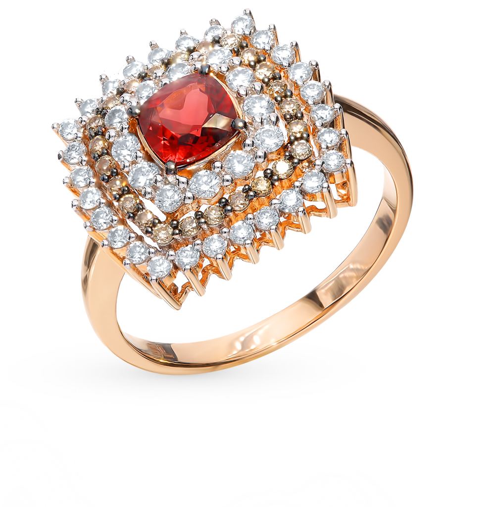 Gold Ring With Cognac Diamonds, Sunlight Garnet Sample 585