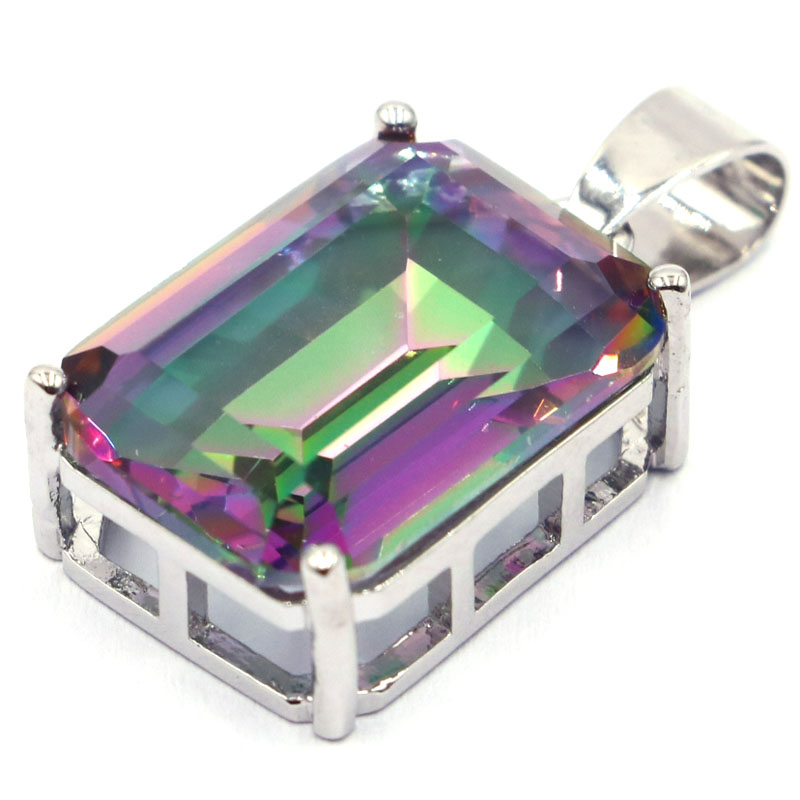 29x15mm Beautiful Created 18x13mm Fire Rainbow Mystic Topaz Gift For Girls Silver Pendant