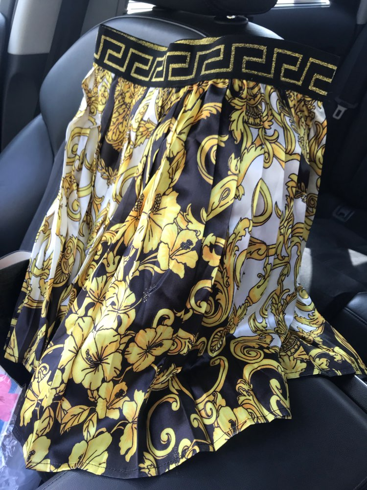Summer New Fashion Vintage High Waist Court Style Printed Pleated Skirt Wholesale Dropshipping Skirt Are Both Welcomed photo review
