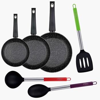 Juego de sartenes (20,24,28cm) en aluminio forjado, aptas para inducción y utensilios de cocina en nylon BERGNER Orion