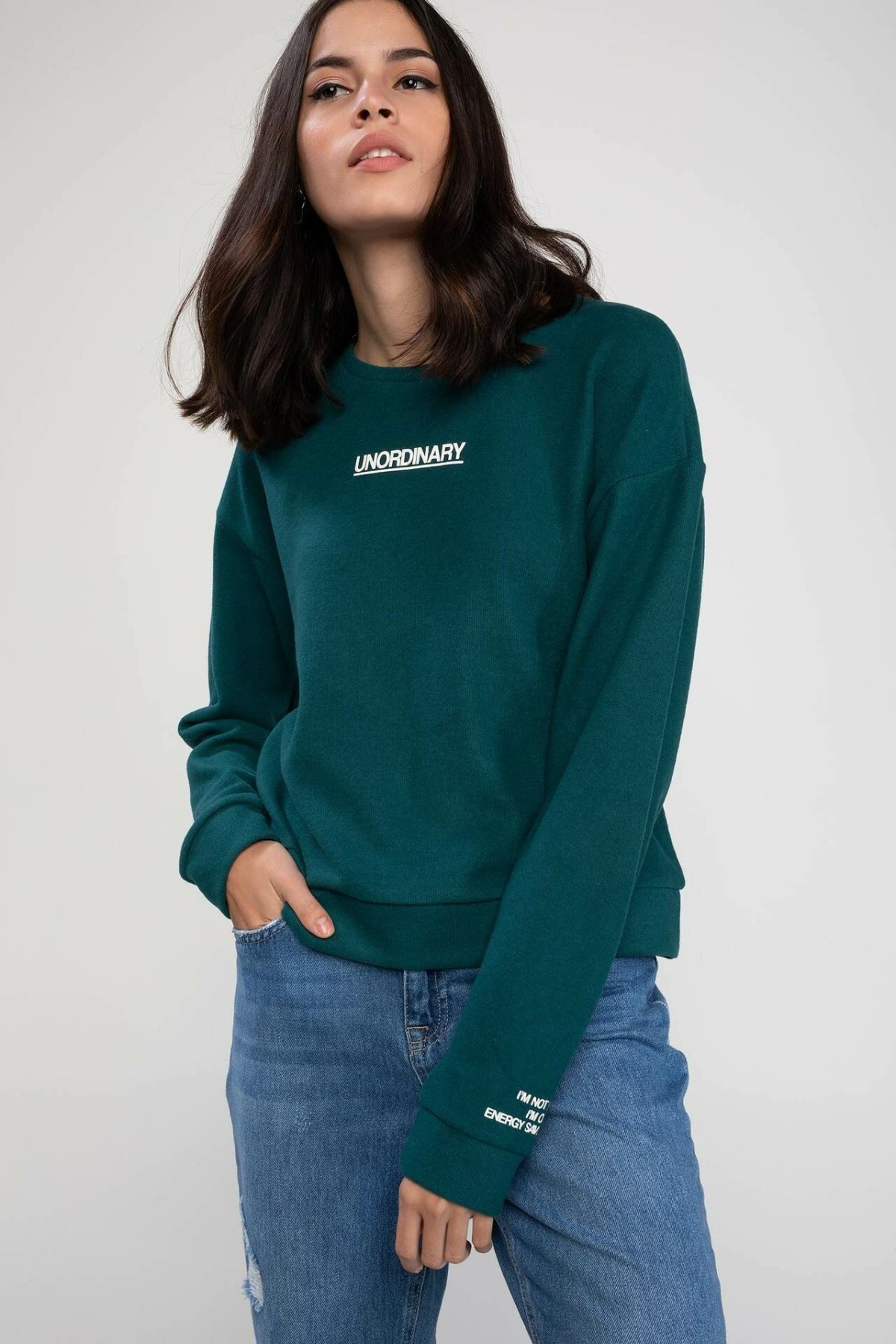 DeFacto Women Autumn Sweat Shirt Pure Color Long Sleeve Pullovers Casual Loose Female Hoodies Top Cloth-J9897AZ18AU