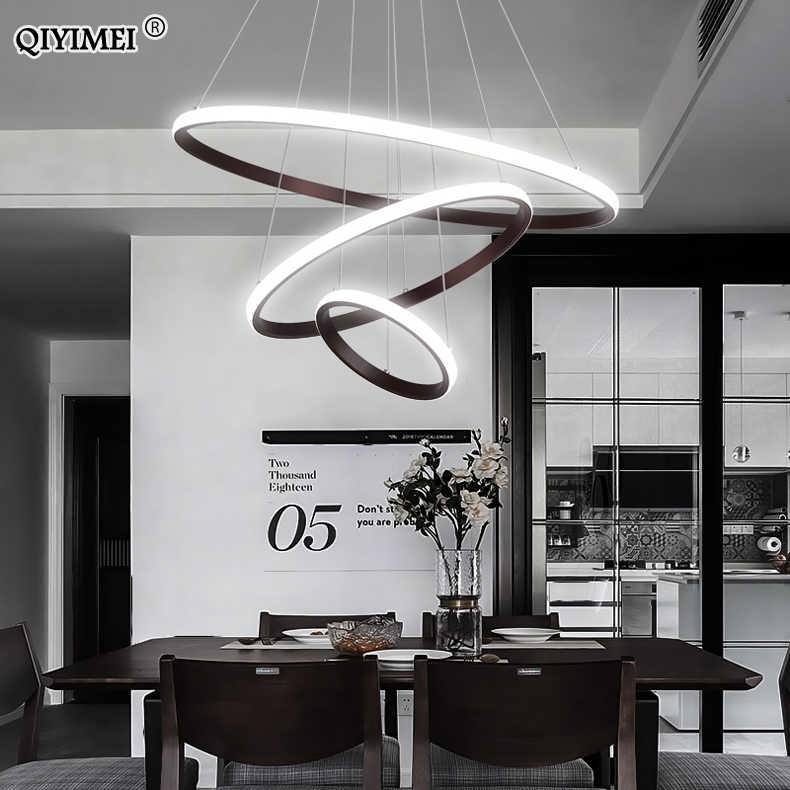 Современный светодиодный подвесной светильник Подвесная лампа гостиная прихожая белая кофе черная внешняя подсветка кольцевое освещение настольная лампа De