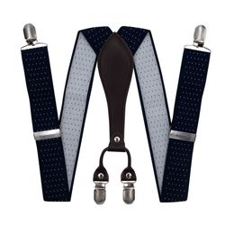 Suspenders for trousers wide (3.5 cm, 4 clips, blue with polka dots), 55319