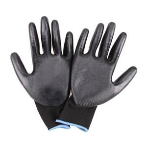 Image 2 - שחור כפפות GMG שחור אדום לבן פוליאסטר שחור אפור Nitrile חלק ציפוי בטיחות עבודה כפפות מכניקה יד כפפות לעבודה
