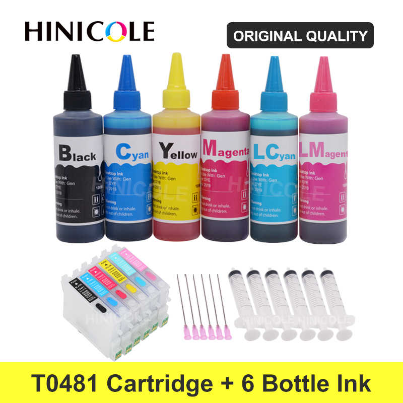 Hinicole T0481-T0486 XL Tinta Printer Cartridge + 600 Ml Botol Tinta Isi Ulang Kit Untuk Epson Stylus Photo R200 r220 R300 R300M R320