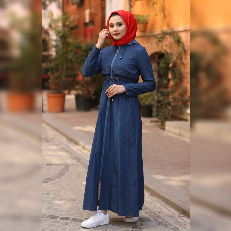 New Women Trench Coat Double Row Button Detailed Trench Coat Long Double-Breasted Belt Lady Clothes Autumn Spring Outerwear Oversize Quality For Women Trench Coat Muslim Women Ramadan Eid Arab Islamic Fashion 1001-2133