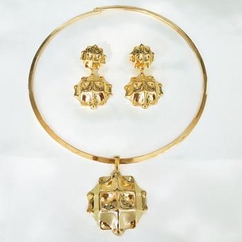 Novo conjunto de colar brincos de ouro para as mulheres belas grandes conjuntos de jóias gota brinco