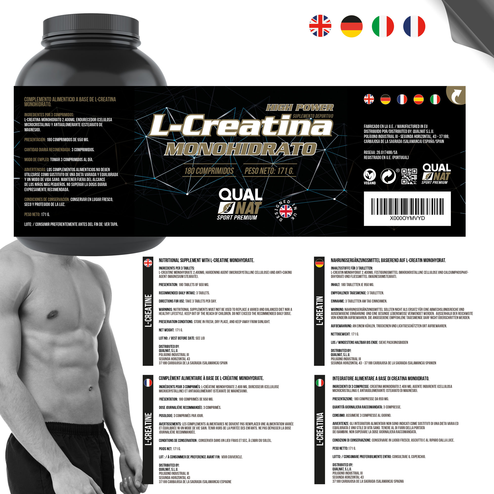 Creatine monohydrate | Sports supplement | Increases the sports performance and the mass | 180 tablets Qualnat 2