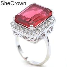21x17mm Classic Rectangle 18x13mm Pink Tourmaline White CZ Ladies Silver Rings