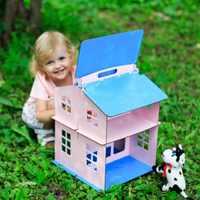 Muñecas casa juguetes casa regalos de Año Nuevo casa de muñecas miniatura edificio de madera Brithday muñeca accesorio bloque pieza madera contrachapada DFM-2