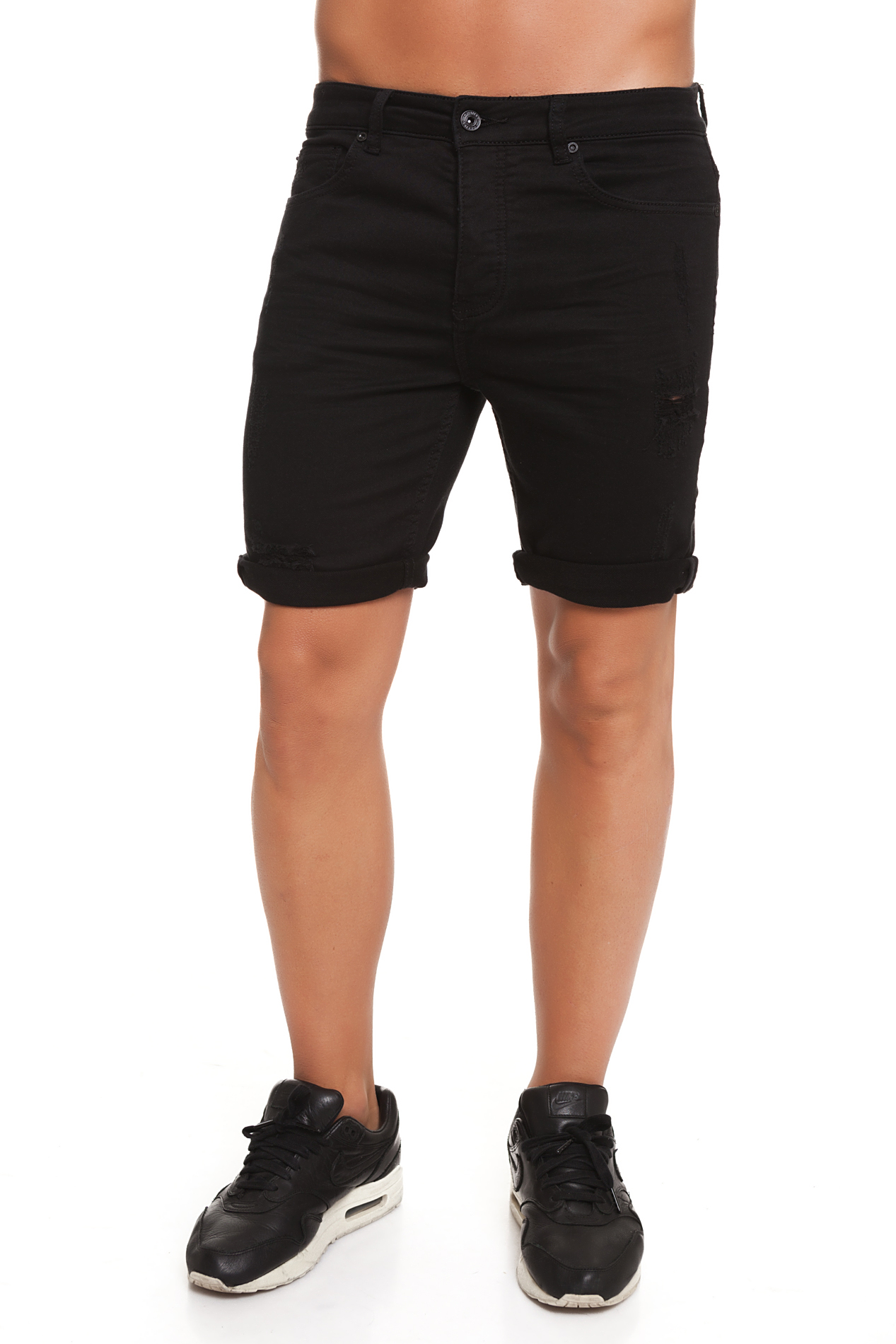 CR7 Trousers Short For Men Color Black Casual Causal Vaquros Short Short Ripped CRD048B