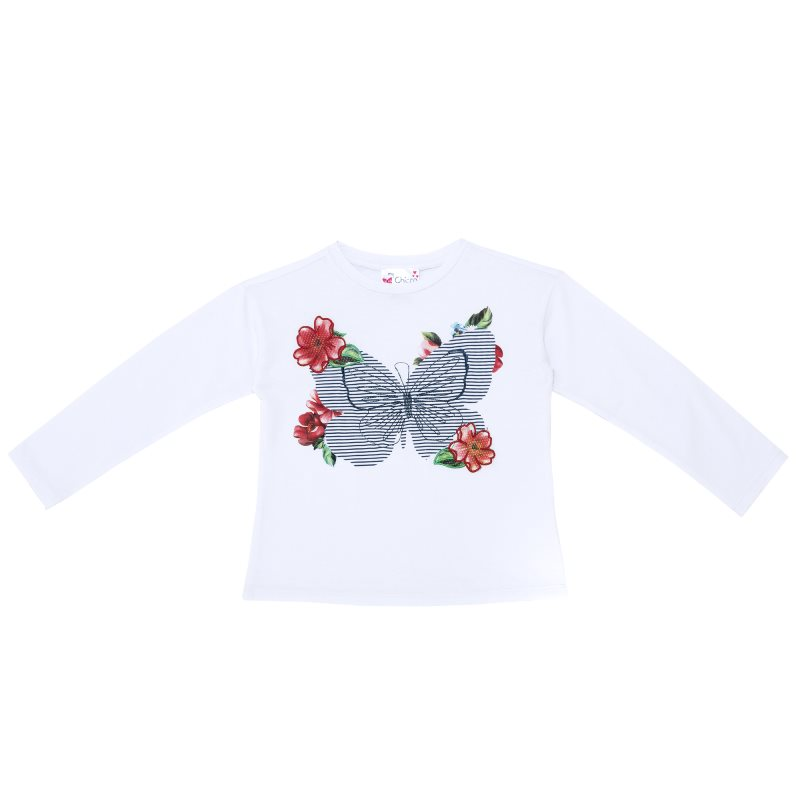 Longsliv Chicco, size 116, print butterfly (white) colorful 3d butterfly print with white color duvet cover 4 piece bedding sets