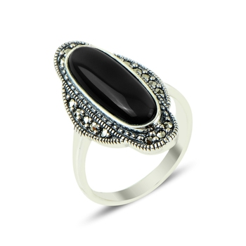 Silver 925 Sterling Marcasite & Onyx Gemstone Ring
