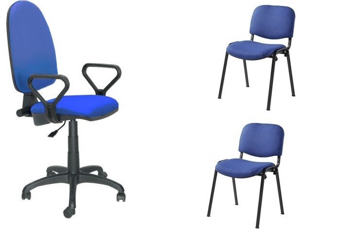 Pack PRE50 Chair Operational With Arms + 2 Chairs Fixed Fabric A20 Blue