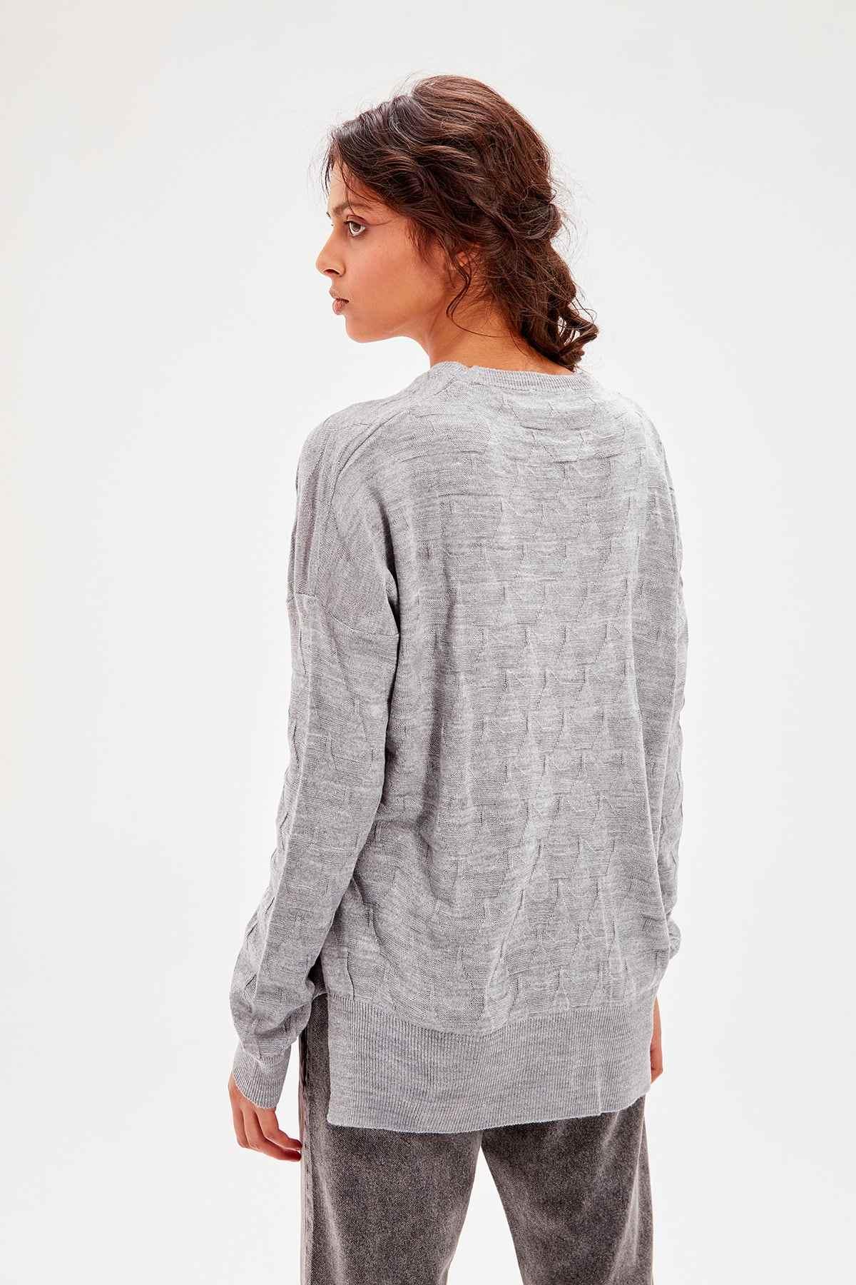 Trendyol Gray Pattern Knitwear Sweater TWOAW20KZ0221