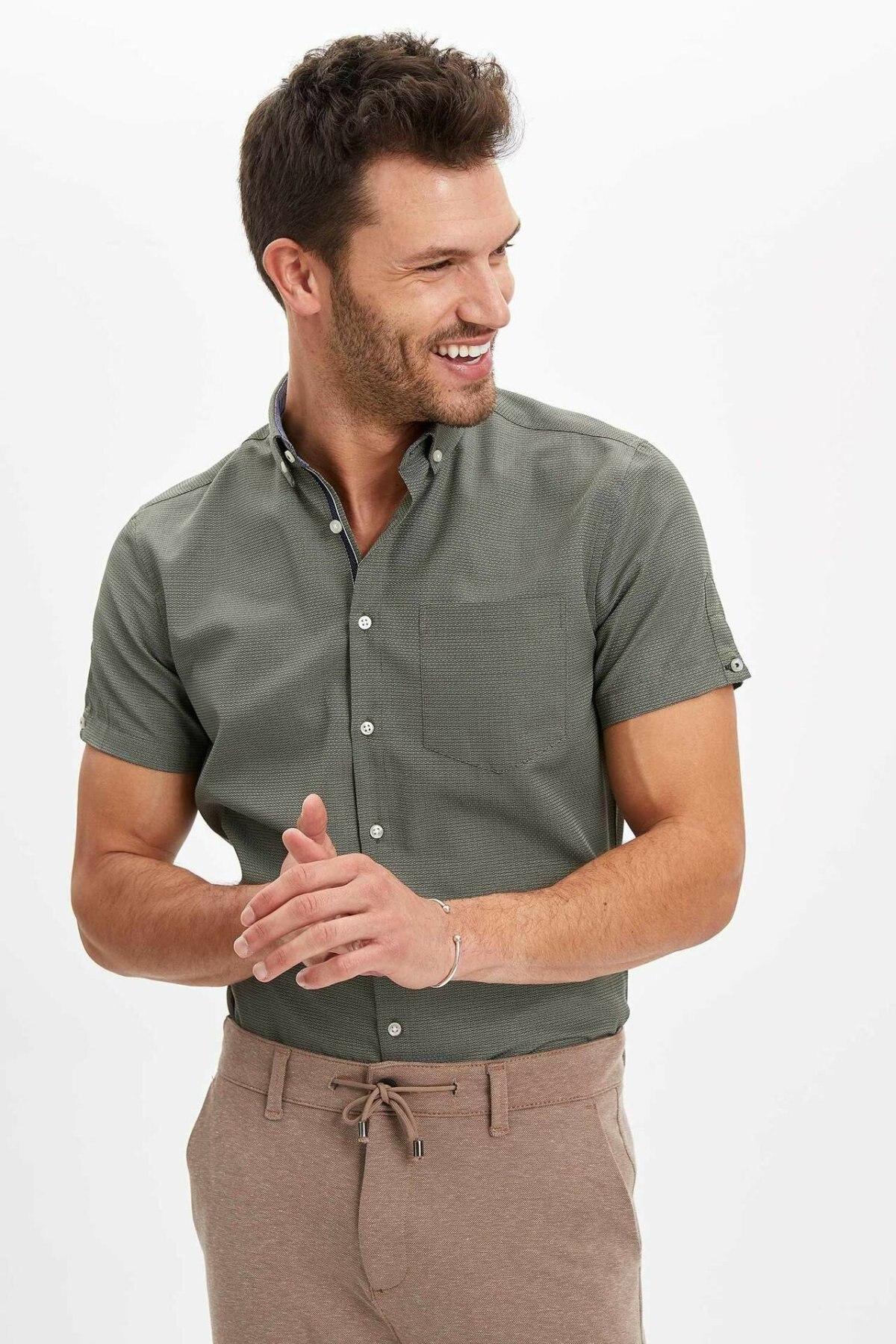 DeFacto Man Short Sleeve Shirt Men's Summer Shirts Men's Smart Casual Shirts Men's Solid Color Shirts-N6300AZ20SM