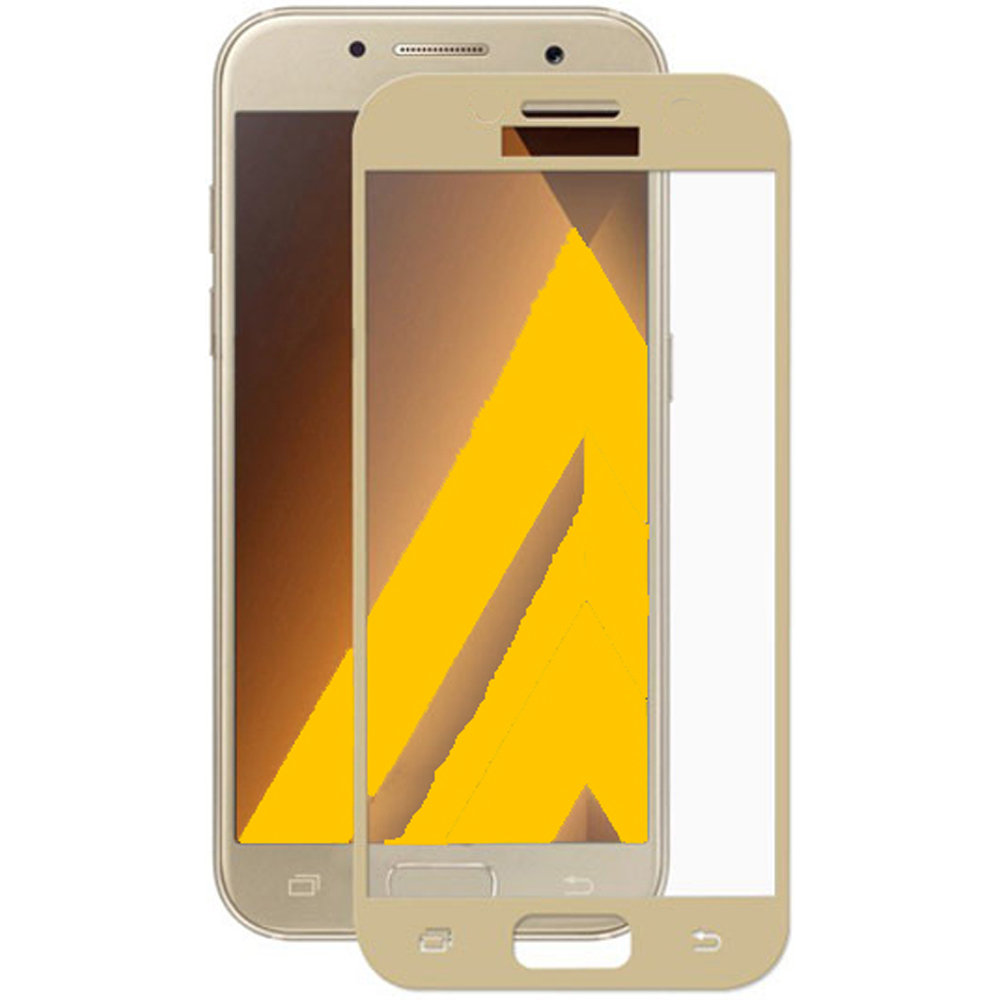 <font><b>Screen</b></font> Protector CRYSTAL tempered glass 2D Gold Tone full covers 100 <font><b>LCD</b></font> Touch for For SAMSUNG GALAXY A5 2017 image