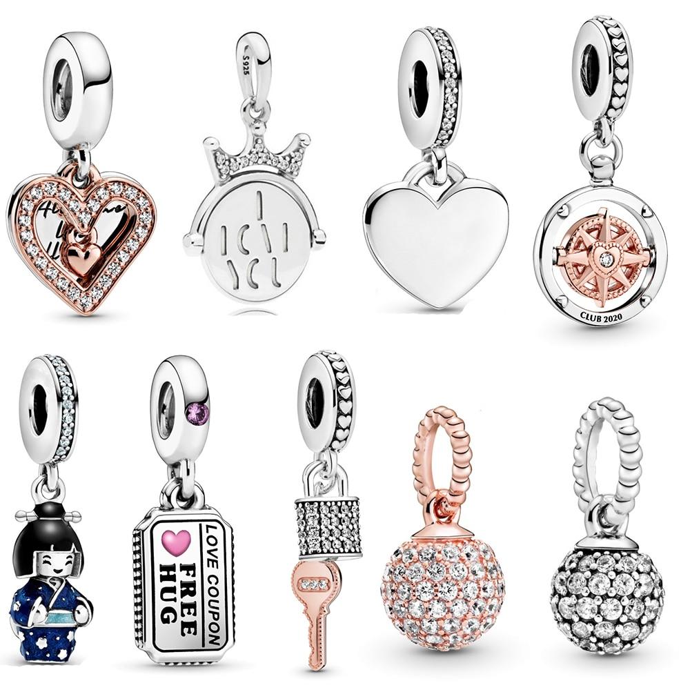 2020 ano novo chinês, dia dos namorados rosa pavé bola, cadeado e chave, bússola pingente diy jóias aniversário dia presente