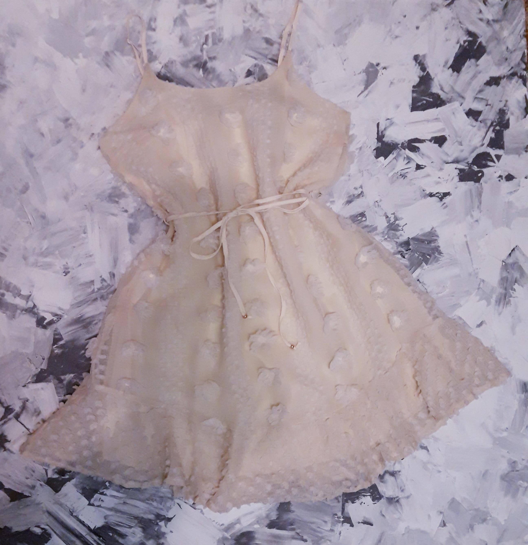 Vintage Flower Embroidery Short Dress Women Elegant Spaghetti Strap Lace Up Sundress White Ruffled Summer Ladies Dresses photo review