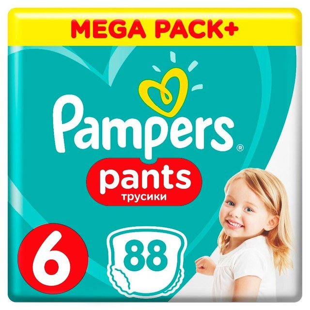 Трусики Pampers Pants 15 кг+, размер 6, 88 шт.