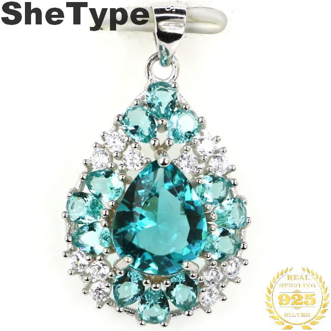 30x18mm Beautiful Pear Shape 3.1g Created Blue Aquamarine White CZ Wedding Ladies 925 Solid Sterling Silver Pendant