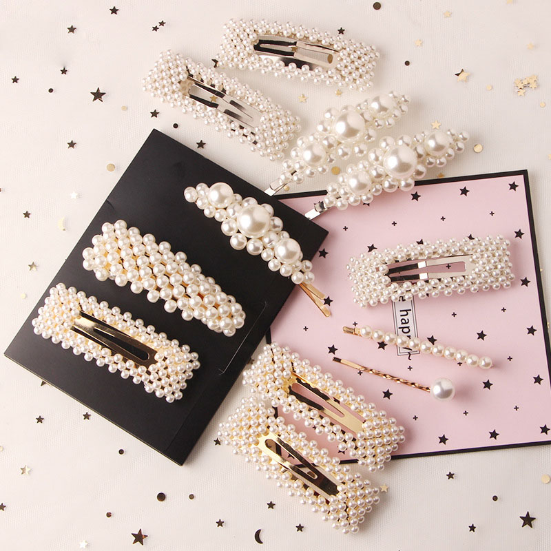 2020Fashion Pearl Hair Clip For Women Elegant Korean Design Snap Barrette Stick Hairpin Hair Styling Accessories