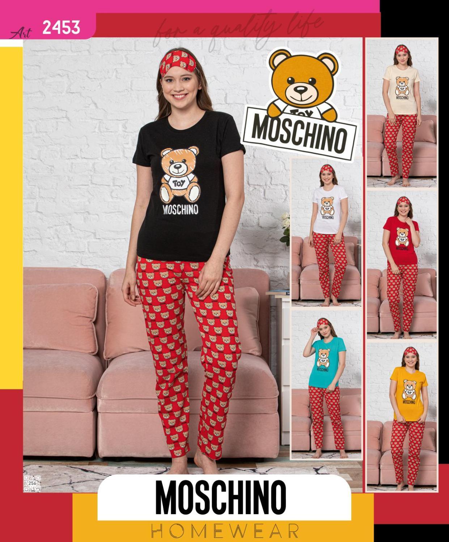Pajamas 3 Sets Women Long Sleepwear Tshirt  Sleeping Strip Moschino Bear Thin Carton Generation  Suit Home Women Gift