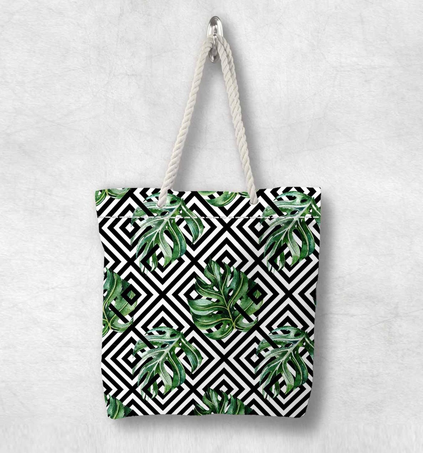 Else Black White Tiles Green Leaves Geometric Fashion White Rope Handle Canvas Bag Cotton Canvas Zippered Tote Bag Shoulder Bag