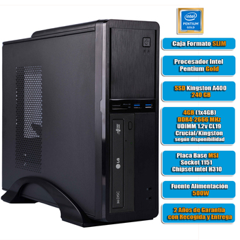 Intel desktop computer G5420 8GB DDR4 240GB SSD, USB 3.0, home/office, SLIM format, USB 3.0