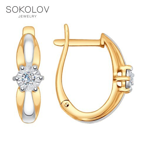 Drop Earrings With Stones With Stones With Stones With Stones With Stones With Stones With Stones With Stones SOKOLOV From Combined Gold And Diamonds Fashion Jewelry 585 Women's Male
