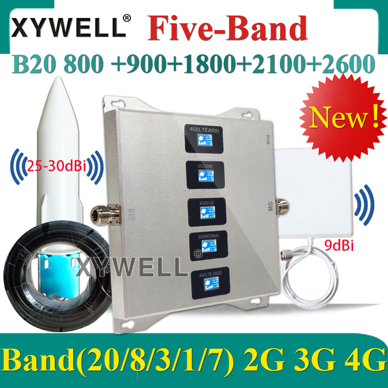 B20 800/900/1800/2100/2600mhz Five-Band 2g 3g 4g Cellular Signal Booster GSM UMTS LTE Cellular Cellphone Repeater Amplifier 4g