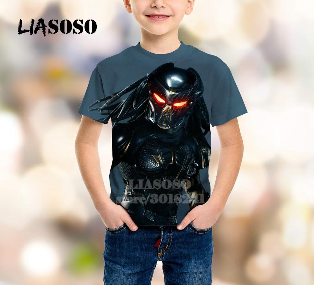 LIASOSO Summer Children Teens Sweatshirt 3D Print Movie The Predator T Shirt Kids Top Boy Girl Short Sleeve Baby Pullover B128