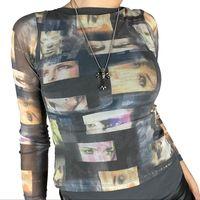 Gotycka czarna siatkowa siatkowa koszulka e-girl graficzna 90s Vintage damska z długim rękawem Slim Fit krótki Top Harajuku Streetwear