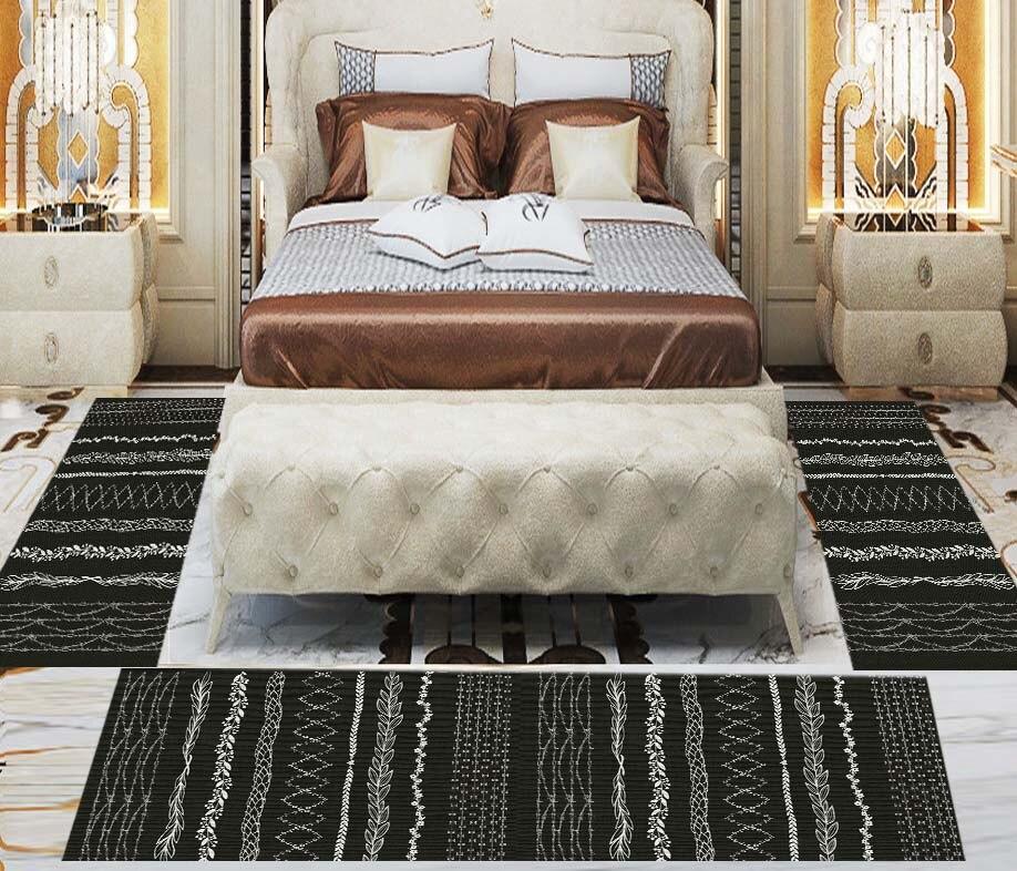 Else 3 Piece Black White Authentic Bohemian 3d Print Non Slip Microfiber Washable Decor Bedroom Hallway Area Rug Carpet Set