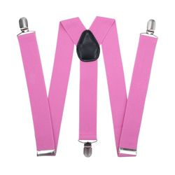 Suspenders for trousers wide (3.5 cm, 3 clips, pink) 53710