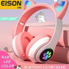 Eison orelhas de gato fones de ouvido bluetooth jogos bonito led flash luz sem fio com microfone para xiaomi iphone