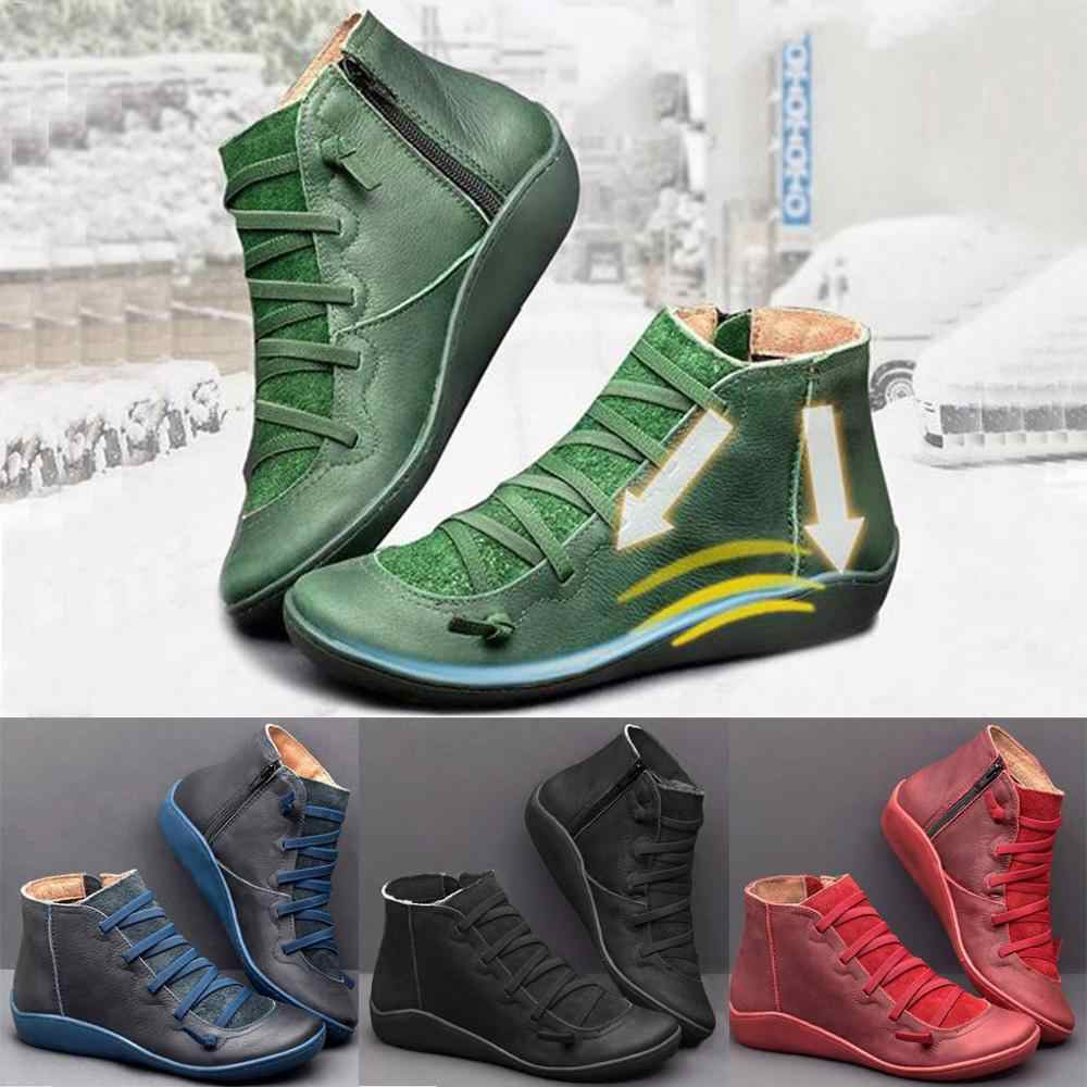 Kadın kar botları Vintage deri çizmeler düz su geçirmez kış yuvarlak ayak yarım çizmeler kadınlar için çok yönlü platformu çizmeler kadın