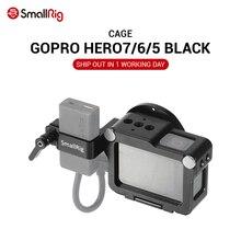 Macchina Fotografica di Azione di SmallRig Vlogging Gabbia per GoPro EROE 7 / 6 / 5 Opzioni di Nero Per Microfono Flash Luce FAI DA TE caso di alluminio CVG2320