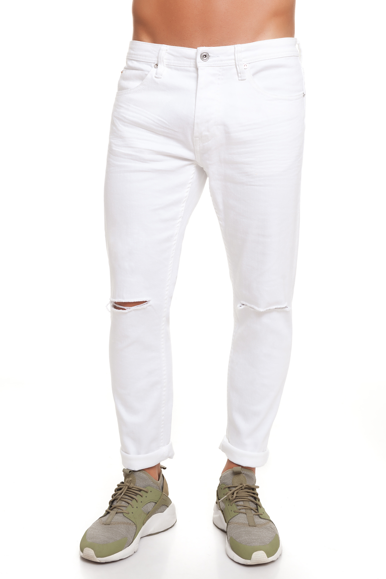 CR7 Jeans For Men Color White Jeans Casual Casual Super Skinny Slash Pockets CRD036A