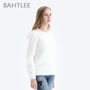 Image 2 - BAHTLEE Women Angora Pullovers Sweater Pure Color  Autumn Winter Wool Knitted Jumper Long Sleeves O Neck Suit Style Basic Style