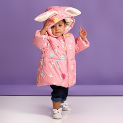 Ebebek Midimod Del Bambino Della Ragazza di Coniglio Dalle Orecchie Lunghe Idrorepellente Cappotto
