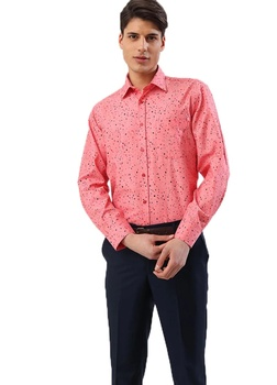 Pink Mens Shirt Regular Long Sleeve Printed Plaid Polka Dot Men Shirts Fashion Casual For New made in Turkey