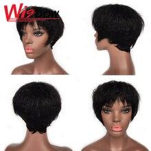 Прямо странный вьющиеся парик человеческих волос парики короткий парик с челкой парик для женщин необработанные индийские волосы cheveux реальный человека Фам