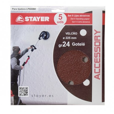SANDING DISC HAS VELCRO 225MM P/SAND GR 24 STAYER 5 PZ