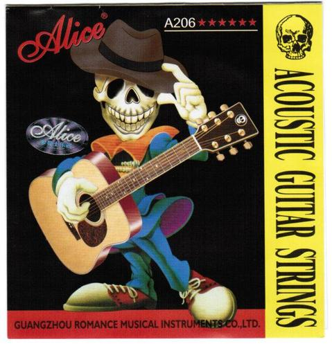 A206-l Light Strings For Acoustic Guitar, Phosphor Bronze, 12-53 [20] Alice