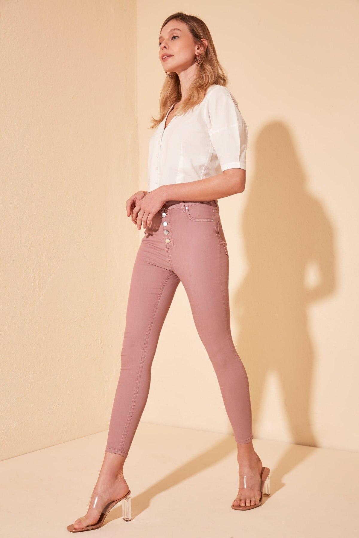 Trendyol Front Button High Waist Skinny Jeans TWOSS20JE0392