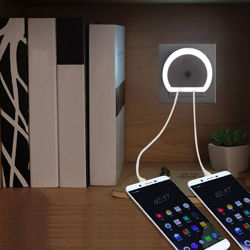 LED Night Light With Dual USB Port Phone Charger Wall EU/US Plug Light Sensor Control Socket Wall Light Lamp